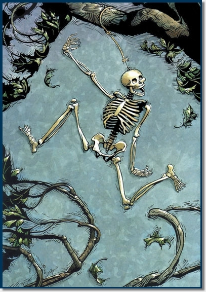skeleton hanging from tree
