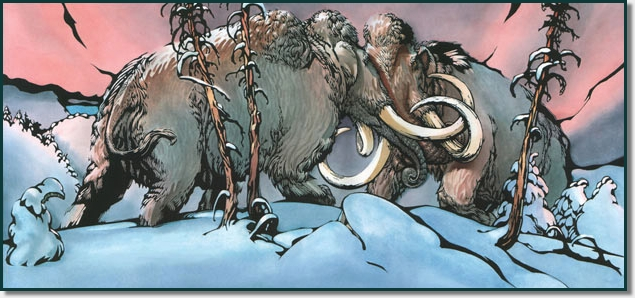 two giant Mammoth in battle
