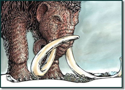 large mammoth with tusks