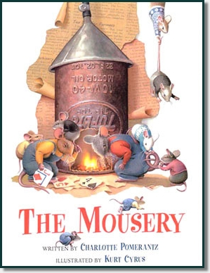 eight mice around a tin can fire place